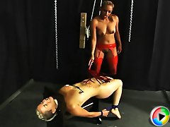 after humiliateing and whipping London Mistress Maxine X forces her slave girl to pleasure her Pussy