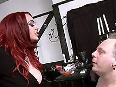 Mistress Jemstone flogging Charlie then pissing in his mouth