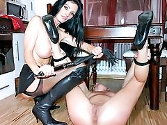 Mistress Carmen binds and whips her helpless slave girl