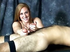 Massager gives painful CBT milking on table for cum