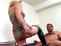 Blond Dynamo Melanie dishes out punishment with her black thigh high boots